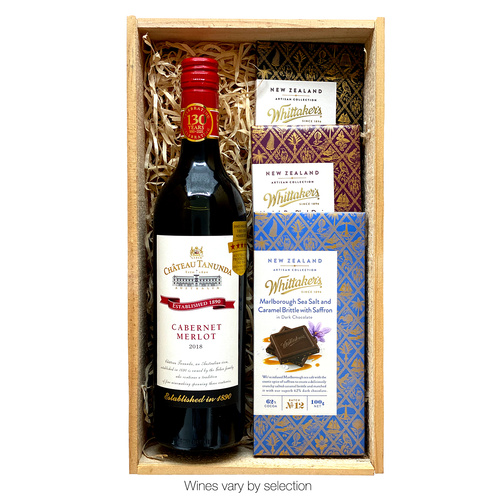 Red Wine and Whittaker's in Deluxe Wooden Gift Box