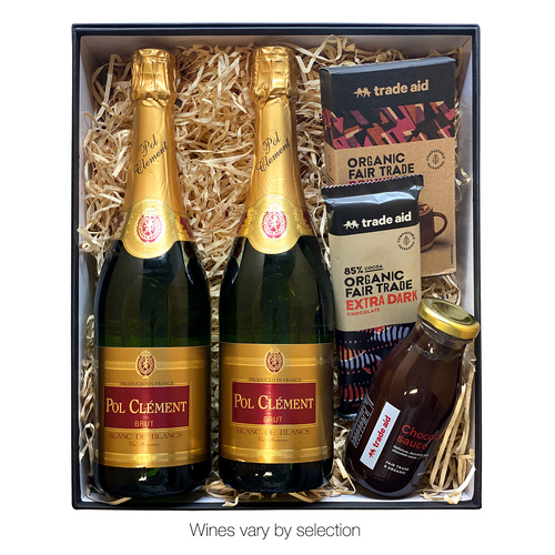 Two Sparkling Wines plus Trade Aid Chocolates in Premium Cardboard Box
