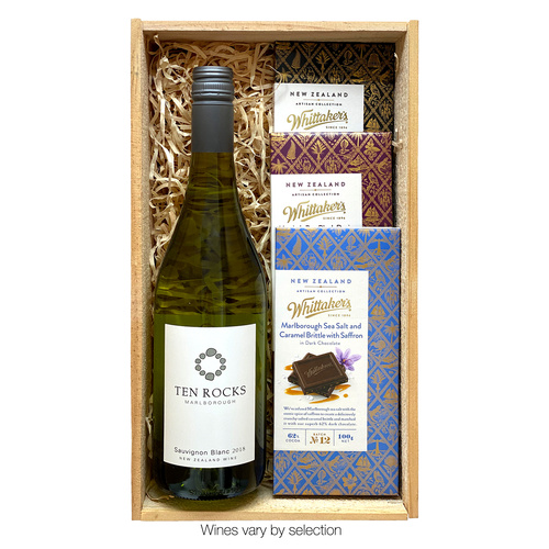 White Wine and Whittaker's in Deluxe Wooden Gift Box