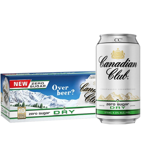 Canadian Club & Dry Zero 330ml CAN 20 pack (2 x 10)